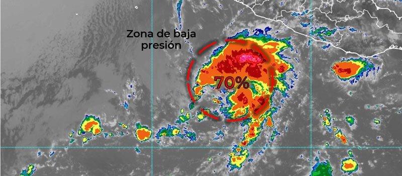 Zona de baja presión podría evolucionar a ciclón en las próximas 48 horas