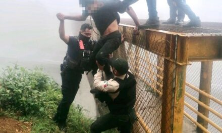 Elementos de la Secretaría de Seguridad Pública (SSP) evitaron que una persona intentara suicidarse en el puente peatonal a la altura del CETIS 134, en Banderilla.
