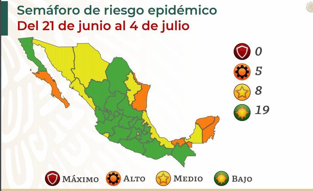 5 estados en semáforo Naranja Baja California Sur, Quintana Roo, Yucatán, Tabasco y Tamaulipas