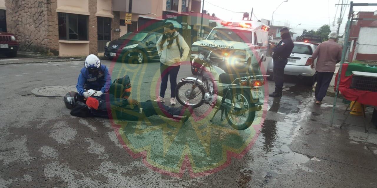 Motociclista lesionado en la Colonia Progreso en Xalapa