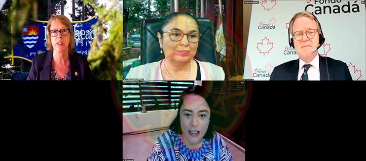 Junto con Sara Ladrón de Guevara participaron Moira McPherson, presidenta de la Universidad de Lakehead; Graeme Clark, embajador de Canadá en México, y Lourdes Budar, directora de la UVI