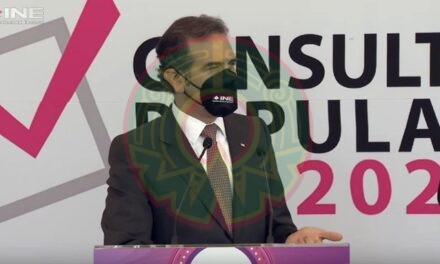El consejero presidente del INE, asegura que la consulta popular fue un ejercicio exitoso por donde se le quiera ver