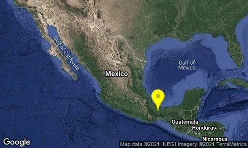 Esta tarde se registró un sismo de Magnitud 5, al Suroeste de Sayula de Alemán, Veracruz.