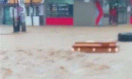 Video: Ataúd es arrastrado por la corriente en Colonia de Xalapa