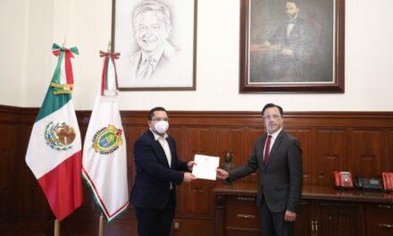 Designa gobernador Cuitláhuac García Jiménez a Cristian Carrillo Ríos como nuevo titular de la CEEAIV.