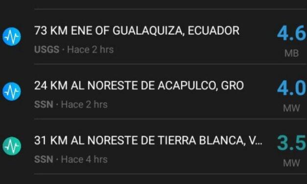Se registra sismo de 4.0 en Acapulco y en Tierra Blanca Veracruz de 3.5