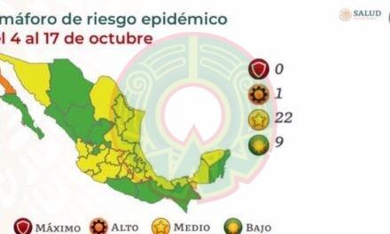 Semáforo epidemiológico COVID-19: 9 estados en verde, 22 en amarillo y 1 en naranja