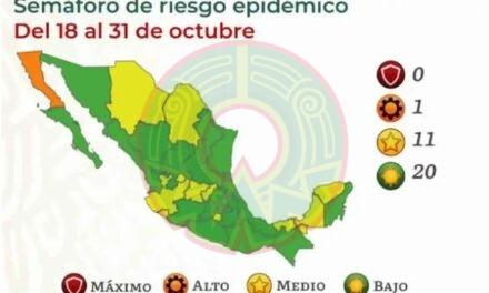 ¡México se pinta de VERDE! Semáforo COVID pone a 20 estados en riesgo mínimo